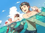 4boys ^_^ atsushi_toushirou black_hair brown_hair closed_eyes goggles goggles_on_head gotou_toushirou grey_eyes gyuunyuu_(mashika) highres innertube male_focus male_swimwear multiple_boys open_mouth partially_submerged redhead seashell shell shinano_toushirou smile swim_trunks swimming swimwear touken_ranbu violet_eyes water yagen_toushirou