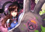 1girl ;) bodysuit brown_eyes brown_hair bunny_print d.va_(overwatch) facial_mark foreshortening headphones highres long_hair looking_at_viewer one_eye_closed overwatch qi_kou shade shaded_face smile solo upper_body whisker_markings