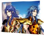 2boys armor blue_eyes blue_hair brothers commentary_request gemini_kanon gemini_saga gold_armor gold_saint happy_birthday hug_(yourhug) long_hair multiple_boys open_mouth saint_seiya siblings smile twins