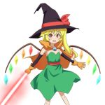 1girl blonde_hair bow cape cato_(monocatienus) cosplay crystal dragon_quest dragon_quest_iii dress elbow_gloves energy_sword eyebrows eyebrows_visible_through_hair fang flandre_scarlet gloves green_dress hat hat_bow jewelry looking_at_viewer mage_(dq3) mage_(dq3)_(cosplay) open_mouth orange_gloves red_bow red_eyes side_ponytail simple_background smile solo standing sword touhou weapon white_background witch_hat
