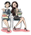2girls black_hair brown_hair business_suit chopsticks eating food formal godzilla_(series) jacket kawamura_nawoko kayoko_ann_patterson long_hair multiple_girls ogashira_hiromi pencil_skirt shin_godzilla short_hair skirt skirt_suit suit udon