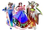 1boy 2girls alternate_hairstyle bare_legs blue_dress braid breasts china_dress chinese_clothes cleavage cleavage_cutout cyborg d.va_(overwatch) double_bun dress fan flat_chest folding_fan genji_(overwatch) geta glasses grin japanese_clothes kimono korean_clothes large_breasts long_hair mei_(overwatch) multiple_girls mundal overwatch purple-framed_eyewear robot semi-rimless_glasses shawl side_slit sidelocks single_braid smile traditional_clothes under-rim_glasses whisker_markings