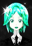 1girl absurdres androgynous gem_uniform_(houseki_no_kuni) green_eyes green_hair highres houseki_no_kuni looking_at_viewer looking_back md5_mismatch open_mouth phosphophyllite shards shirt simple_background smile solo the_only_shoe the_shoe white_shirt