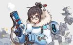 1girl 5boys armor bow_(weapon) coat glasses gloves gun hair_bun hammer hanzo_(overwatch) junkrat_(overwatch) mei_(overwatch) multiple_boys overwatch popsicle reinhardt_(overwatch) roadhog_(overwatch) short_hair smile solo terras weapon zenyatta_(overwatch)