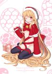 1girl ;) ;d absurdly_long_hair absurdres ahoge blonde_hair bow bowtie box breasts capelet commentary_request detached_sleeves gift gift_box hat highres holding long_hair looking_at_viewer navel one_eye_closed open_mouth original panties red_eyes ribbon santa_hat sitting smile solo sugar_sound under_boob underwear very_long_hair wariza