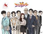 2girls 6+boys bald beard black_hair brown_hair creator_connection earrings facial_hair formal freckles glasses godzilla_(series) hazama_kunio highres izumi_shuuichi jewelry kayoko_ann_patterson long_hair mori_fumiya multiple_boys multiple_girls mustache necktie neon_genesis_evangelion nerv ogashira_hiromi parody pencil_skirt shimura_yuusuke shin_godzilla short_hair skirt suit sunglasses takumi_(marlboro) title_parody translated yaguchi_randou yasuda_tatsuhiko