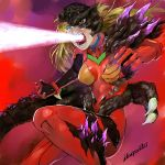 1girl attack bangs blonde_hair blue_eyes bodysuit bracer breasts breasts_apart claws creator_connection dragon_girl dragon_tail energy_beam fighting_stance from_side fusion gloves glowing godzilla godzilla_(series) hair_between_eyes heterochromia highres ikuyoan long_hair looking_to_the_side monster_girl mouth_beam neon_genesis_evangelion open_mouth pilot_suit plugsuit scales shin_godzilla signature solo souryuu_asuka_langley tail turtleneck wide-eyed yellow_eyes