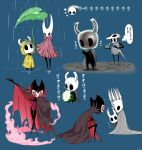 arizuka_(catacombe) artist_name blue_background commentary_request eating food highres hollow_knight hollow_knight_(character) hornet_(hollow_knight) horns jacket multiple_views nightmare_king_grimm rain red_eyes simple_background steam translation_request white_helmet yellow_jacket