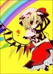 blonde_hair flandre_scarlet hat heart rainbow rainbow_order red_eyes short_hair solo touhou uru_uzuki wings yuzuki_(pixiv)
