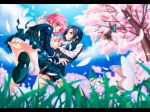 blue_hair bow brown_eyes butterfly cherry_blossoms earrings flower frills grass green_eyes hair_bow heart jewelry multiple_girls necktie original panties pantyshot petals pink_hair school_uniform shoes sky socks teita_(pixiv279117) tree underwear
