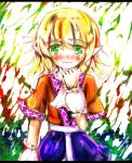 bad_id blonde_hair green_eyes mizuhashi_parsee pointy_ears scarf short_hair tears touhou yunagram