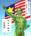 america american_flag barack_obama commentary english fig_leaf flag green_skin male masao masao_(character) necktie politician romaji smile what