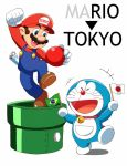 >_< 2016_summer_olympics 2boys :d arm_up ball bell blue_eyes brazilian_flag brown_hair clenched_hand closed_eyes collar crossover doraemon doraemon_(character) facial_hair flag gloves hat japanese_flag jingle_bell mario mario_(series) multiple_boys mustache olympics open_mouth outstretched_arm overalls pouch riko_(sorube) shoes smile super_mario_bros. warp_pipe white_gloves