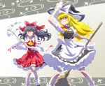 2girls black_hair blake_belladonna blonde_hair breasts broom cosplay dress hakurei_reimu hakurei_reimu_(cosplay) hat iesupa japanese_clothes kirisame_marisa kirisame_marisa_(cosplay) long_hair looking_at_viewer miko multiple_girls rwby smile touhou violet_eyes yang_xiao_long yellow_eyes
