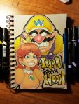 1boy 1girl blue_eyes brown_hair catchphrase crown earrings english facial_hair grin hat highres jewelry long_hair looking_at_viewer mario_(series) mario_party mustache omar_dogan overalls pointy_ears princess_daisy sketchbook smile traditional_media wario