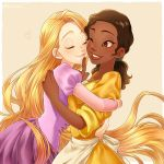 2girls apron blonde_hair brown_eyes brown_hair closed_eyes crossover disney dress finger_to_another's_mouth hair_tie heart hug kiri_futoshi long_hair multiple_girls one_eye_closed pink_dress ponytail puckered_lips rapunzel_(disney) smile tangled the_princess_and_the_frog tiana very_long_hair waist_apron yellow_dress