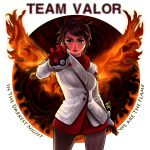 1girl candela_(pokemon) dark_skin gloves highres holding holding_poke_ball pantyhose poke_ball pokemon pokemon_go ryu_shou short_hair solo team_valor