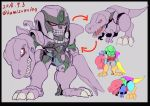 1boy beast_wars chibi claws clenched_teeth dinosaur directional_arrow fangs grin insignia kamizono_(spookyhouse) machine machinery mecha megatron megatron_(beast_wars) no_humans oldschool open_mouth personification red_eyes robot science_fiction smile solo teeth transformers transforming twitter_username tyrannosaurus_rex