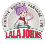 1girl :d ahoge blush bow brand_name_imitation catchphrase chef_hat chef_uniform double_bun employee_uniform fast_food_uniform flat_top_chef_hat green_eyes hat looking_at_viewer manaka_lala open_mouth papa_john's pripara purple_hair rr_(suisse200) short_hair smile solo tagme twintails uniform upper_body v v_over_eye