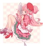 1girl ai_(otoca_d'or) blue_eyes bobby_socks bow floral_print half_updo hat hat_bow leo_hariyoru long_hair looking_at_viewer mary_janes otoca_d'or pink_hair pink_skirt red_bow red_hat red_shoes shoes skirt socks solo striped striped_bow