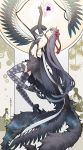 2girls akemi_homura akuma_homura black_hair closed_eyes elbow_gloves feathered_wings feathers flower gears gloves goddess_madoka hair_ribbon homulilly lamppost long_hair mahou_shoujo_madoka_magica mahou_shoujo_madoka_magica_movie multiple_girls multiple_persona outstretched_arm ribbon sakuraba_yuuki spider_lily thigh-highs very_long_hair wings