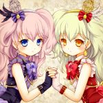 2girls aidi_(otoca_d'or) blonde_hair blue_eyes bow brooch cage corset earrings es_(otoca_d'or) expressionless frills hair_bow holding_hands jewelry long_hair looking_at_viewer mashiro_(pixiv10823726) multiple_girls otoca_d'or pink_hair purple_bow red_bow symmetry two_side_up upper_body yellow_eyes