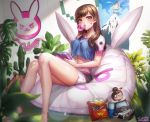 1girl 2016 bag_of_chips bangs bare_legs barefoot bean_bag_chair box_(hotpppink) breasts brown_eyes brown_hair bubblegum character_doll controller crop_top crop_top_overhang d.va_(overwatch) dated doll doritos emblem facial_mark game_controller holding legs lens_flare long_hair looking_at_viewer mei_(overwatch) midriff overwatch philodendron plant poster_(object) short_shorts short_sleeves shorts sitting solo thighs
