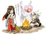 2girls broom chibi choshichiro fire food headband horns japanese_clothes miko multiple_girls queen's_blade shizuka_(queen's_blade) sweet_potato tomoe translation_request yakiimo
