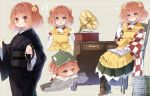 >:) 1girl :d ? apron beads bell black_kimono book book_on_head boots chair character_name clothes_writing cross-laced_footwear desk funeral_kimono glasses hair_bell hair_ornament japanese_clothes kimono lace-up_boots motoori_kosuzu object_on_head open_mouth phonograph piyokichi red_eyes redhead sitting smile sparkle touhou twintails two_side_up