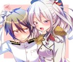 1boy 1girl admiral_(kantai_collection) blush brown_hair chihiro_(oimo) gloves grimace hand_on_another's_head hat kantai_collection kashima_(kantai_collection) military military_uniform naval_uniform open_mouth red_eyes silver_hair squiggle twintails uniform violet_eyes
