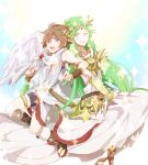 1boy 1girl angel blush breasts brown_hair cleavage dress gloves green_eyes green_hair hair_ornament jewelry kid_icarus kid_icarus_uprising long_hair one_eye_closed open_mouth palutena pit_(kid_icarus) short_hair smile sobame_shi_o thigh-highs violet_eyes white_legwear wings