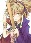 >:) 1girl bracelet cape closed_mouth collared_shirt commentary_request earmuffs jewelry light_brown_eyes light_brown_hair pointy_hair purple_cape ritual_baton shirt short_hair solo suichuu_hanabi touhou toyosatomimi_no_miko upper_body