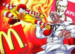 belt clenched_teeth facial_hair fighting_stance fire flying_kick formal glasses kfc kicking lipstick logo makeup mcdonald's muscle mustache necktie open_mouth red_nose red_shoes redhead ronald_mcdonald shoes socks striped striped_legwear suit teeth warugaki_(sk-ii) white_hair white_suit