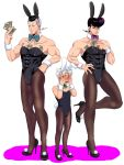 3boys abs animal_ears blue_hair blush bow bowtie bunny_tail bunnysuit covering_face crossdressing detached_collar dollar_bill embarrassed fake_animal_ears fake_tail full-face_blush grey_hair hairband higashikata_jousuke high_heels highres hirose_kouichi hotaru_(ss801) jojo_no_kimyou_na_bouken lavender_eyes male_focus money multicolored_hair multiple_boys muscle nijimura_okuyasu open_mouth pantyhose pompadour purple_hair rabbit_ears tail two-tone_hair wrist_cuffs