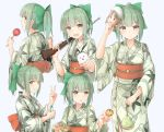 >:d 1girl :d :o azuhira bow candy_apple character_mask commentary error_musume from_behind green_hair grin gun hair_bow japanese_clothes kantai_collection kimono kinchaku multiple_views obi open_mouth ponytail ramune rifle sash shimakaze_(kantai_collection) shimakaze_(seal) shooting_gallery smile summer_festival takoyaki v weapon white_background yellow_eyes yukata yuubari_(kantai_collection)