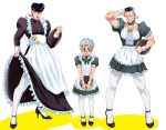 3boys alternate_costume apron blue_hair blush choker crossdressing embarrassed enmaided green_eyes grey_hair heart higashikata_jousuke high_heels hirose_kouichi hotaru_(ss801) jojo_no_kimyou_na_bouken maid maid_apron maid_headdress male_focus multicolored_hair multiple_boys muscle nijimura_okuyasu peace_symbol pin pompadour purple_hair skirt_hold thigh-highs tray two-tone_hair