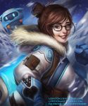 1girl bangs beads belt belt_pouch black-framed_eyewear blue_gloves brown_eyes brown_hair clenched_hand coat deviantart_username drone facebook_address floating fur-lined_jacket fur_coat fur_trim glasses gloves hair_bun hair_ornament hair_stick hand_up ice lipstick looking_at_viewer loputon machinery makeup mei_(overwatch) night night_sky overwatch parka realistic red_lips red_lipstick robot short_hair sidelocks sky smile solo star_(sky) starry_sky swept_bangs teeth tumblr_username upper_body utility_belt water watermark web_address winter_clothes winter_coat