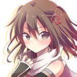 1girl bare_shoulders black_gloves blush brown_eyes brown_hair chihiro_(oimo) elbow_gloves fingerless_gloves gloves hair_ornament kantai_collection looking_at_viewer remodel_(kantai_collection) scarf sendai_(kantai_collection) short_hair solo twintails upper_body white_scarf