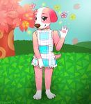 animal animal_crossing deviantart dog doubutsu_no_mori dress flower furry grass nintendo no_humans perine_(doubutsu_no_mori) possim realistic red_eyes sakura sky tree