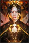 1girl artist_name avatar:_the_last_airbender avatar_(series) azula black_hair cape commentary eyebrows forehead forehead_jewel grey_eyes headdress highres lips lipstick makeup making_of mascara nose portrait realistic ross_tran short_hair solo
