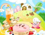 apron blue_eyes blueberry blush_stickers brown_eyes brown_hat bush chef_hat chimney cloth clouds commentary_request cup drinking_glass flat_cap food fork froth fruit hat highres kinuyo_(kinuxi) kirby kirby_(series) maxim_tomato open_mouth outdoors pancake pennant plate rainbow raspberry smile smoke spoon star star_pin strawberry tree waddle_dee white_hat