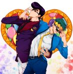 2boys arm_around_waist balloon belt clip earrings green_eyes green_hair grok headband heart higashikata_jousuke jewelry jojo_no_kimyou_na_bouken kishibe_rohan male_focus multiple_boys necktie one_eye_closed peace_symbol pompadour profile purple_hair red_eyes shiny smile stud_earrings suit_jacket sunglasses