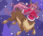 1girl absurdres antlers bell blue_eyes blush breasts centauroid christmas commentary_request fur_trim gloves great_magami hat highres long_hair looking_at_viewer monster_girl open_mouth original pink_hair reindeer reindeer_antlers santa_costume santa_hat smile solo tail
