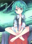 1girl :o antennae barefoot black_cape bottomless cape commentary_request dress_shirt green_eyes green_hair indian_style looking_at_viewer navel open_clothes open_shirt shirt short_hair sitting sleeves_rolled_up solo suichuu_hanabi touhou white_shirt wriggle_nightbug