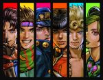 black_hair blonde_hair blue_eyes braid brown_hair column_lineup double_bun fingerless_gloves gakuran giorno_giovanna gloves green_eyes green_hair green_lipstick grin hat headband heart higashikata_jousuke jojo_no_kimyou_na_bouken jojo_pose jonathan_joestar joseph_joestar_(young) kuujou_jolyne kuujou_joutarou lipstick makeup multicolored_hair pompadour pose scarf school_uniform smile striped striped_scarf two-tone_hair ug_(ugg) violet_eyes zipper