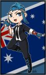 1girl australian_flag blue_eyes blue_gloves blue_hair boots commentary_request fang fingerless_gloves flag formal gloves looking_at_viewer mohawk payday_(series) payday_2 smile solo suit sydney_(payday) tattoo wagum_ra