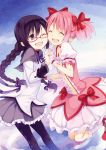 2girls :d ;d ^_^ absurdres akemi_homura argyle argyle_legwear arm_garter bespectacled black_legwear bow braid cheek-to-cheek closed_eyes glasses gloves hair_bow hairband happy highres holding_hands jumping kaname_madoka kneehighs kyuri long_hair long_sleeves mahou_shoujo_madoka_magica multiple_girls multiple_sleeves one_eye_closed open_mouth pantyhose petticoat pink_hair puffy_short_sleeves puffy_sleeves purple_legwear purple_skirt red-framed_eyewear red_bow semi-rimless_glasses short_sleeves skirt smile teeth twin_braids twintails under-rim_glasses very_long_hair white_gloves white_legwear