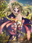 1girl bangs boots cape fire_emblem fire_emblem:_kakusei fire_emblem_cipher flat_chest forest garter_straps gloves green_hair jewelry long_hair looking_at_viewer midriff nature navel nintendo nono_(fire_emblem) parted_bangs pink_legwear ponytail ribbon short_shorts shorts simple_background smile solo thigh-highs thigh_boots tiara violet_eyes