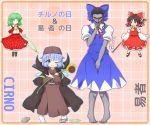 1boy 3girls ascot barefoot black_hair blue_bow blue_dress blue_eyes blue_hair blush bow character_name cirno cirno_(cosplay) cloak closed_umbrella cosplay costume_switch covering covering_crotch crossdressing detached_sleeves dress embarrassed flower fortune_teller_(touhou) fortune_teller_(touhou)_(cosplay) geta gohei green_hair grey_skin hair_bow hair_tubes hakurei_reimu hat high_collar highres hollow_eyes kazami_yuuka mary_janes mofu_mofu multiple_girls parasol petals plaid plaid_background plaid_skirt plaid_vest pointy_ears red_bow red_eyes red_ribbon ribbon robe shirt shoes skirt smile sunflower touhou umbrella white_shirt