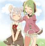 2girls :d abe_suke animal_ears bangs black_skirt bloomers blush bow bowtie closed_eyes closed_mouth commentary_request dress eyebrows_visible_through_hair fang green_hair grey_hair highres juliet_sleeves kasodani_kyouko long_sleeves mouse_ears mouse_tail multiple_girls nazrin open_mouth pink_dress puffy_short_sleeves puffy_sleeves red_neckwear short_hair short_sleeves signature skirt skirt_set smile tail touhou underwear